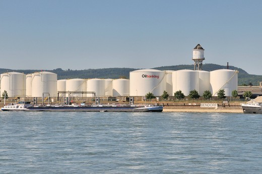 Largest oil storage site between Mainz and Cologne, Rhine port Bendorf, Rhineland_Palatinate, Germany, Europe : Stock Photo