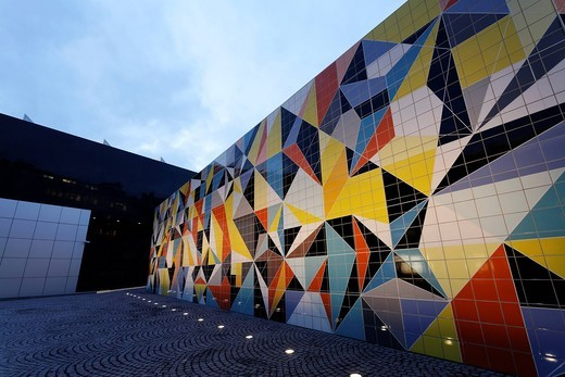 Geometric mosaic made of tiles by Sara Morris, Paul_Klee_Platz square, Kunstsammlung Nordrhein_Westfalen arts collection, K20 building, Duesseldorf, North Rhine_Westphalia, Germany, Europe : Stock Photo