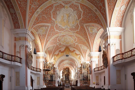 Church of the Annunciation, Rococo_style, Jesuit church, Mindelheim, Unterallgaeu district, Allgaeu region, Swabia, Bavaria, Germany, Europe : Stock Photo