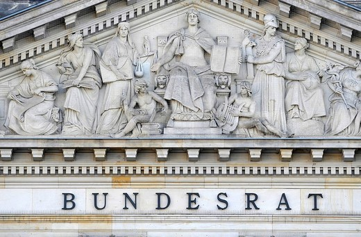 Lettering and relief in a tympanum above the main entrance to the Bundesrat, Berlin, Germany, Europe : Stock Photo
