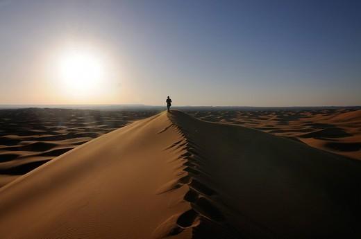 Tourist in the sand dunes of the Sahara, Merzouga, Morocco, Africa : Stock Photo