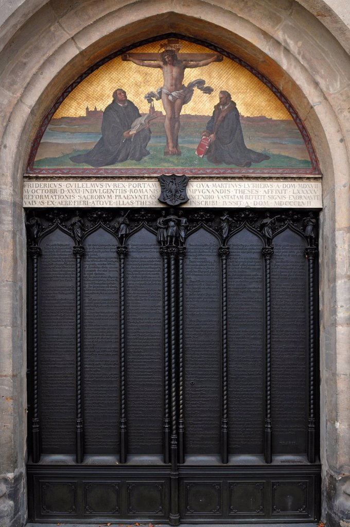 Stock Photo: 1848-546821 Entrance to the Schlosskirche, castle church, where Martin Luther nailed his 95 Theses, Lutherstadt Wittenberg, Martin Luther City Wittenberg, Saxony_Anhalt, Germany, Europe