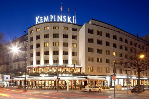 Kempinski Hotel, Kurfuerstendamm street, Charlottenburg district, Berlin, Germany, Europe : Stock Photo