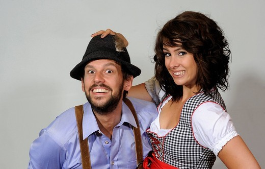 Stock Photo: 1848-546875 Couple wearing traditional Tyrolean costumes, portrait