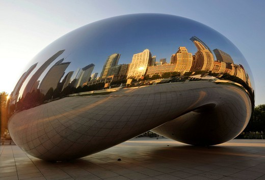 Stock Photo: 1848-546981 Reflection of the Chicago skyline with the Legacy at Millennium Park Building, The Heritage and the Pittsfield Building in the Cloud Gate sculpture, The Bean, by Anish Kapoor, AT & T Plaza, Millennium Park, Chicago, Illinois, United States of America, USA