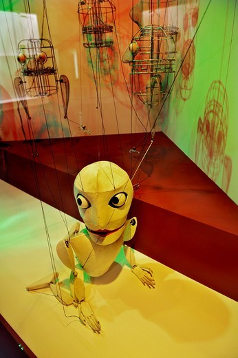 Puppet in the puppet theatre collection, Stadtmuseum, city museum, Munich, Bavaria, Germany, Europe : Stock Photo
