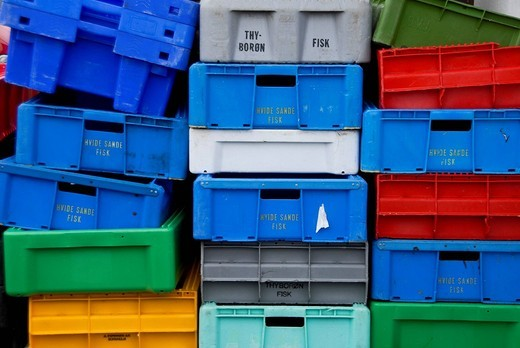 Stacked colorful fish boxes, Hvide Sande, Denmark, Europe : Stock Photo