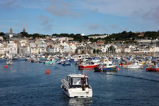 Sailboats in the marina, main port, St. Peter Port, Guernsey, Channel Islands, Europe : Stock Photo