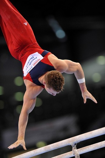 Jonathan Horton, USA, on the parallel bars, EnBW Gymnastics World Cup 2010, 28th DTB_Cup, Stuttgart, Baden_Wuerttemberg, Germany, Europe : Stock Photo