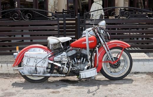 Old Harley Davidson motorcycle, Northern Cyprus, Cyprus : Stock Photo