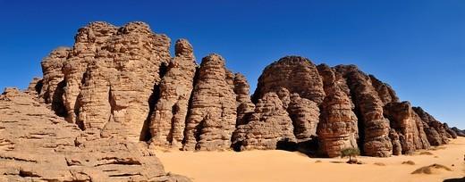 Sandstone rock formation at Tikobaouine, Tassili n´ Ajjer National Park, Unesco World Heritage Site, Wilaya Illizi, Algeria, Sahara, North Africa, Africa : Stock Photo
