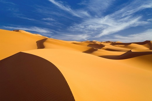 Sand dunes in the Libyan desert, Sahara, Libya, North Africa, Africa : Stock Photo