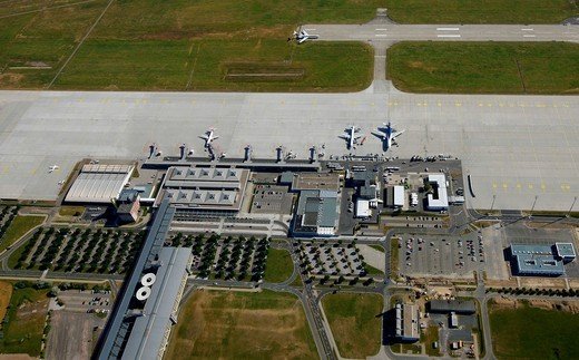 Aerial view, Leipzig International Airport, cargo airport, Schkeuditz, Saxony, Germany, Europe : Stock Photo