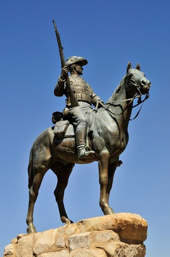 Equestrian Statue, in front of the Alte Feste or Old Fortress, Windhoek, Namibia, Africa : Stock Photo