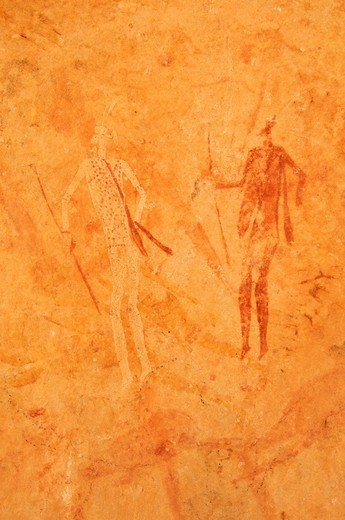 Neolithic rock art, painting of warriors, hunters with bow and arrow, Tasset Plateau, Tassili n´Ajjer National Park, Unesco World Heritage Site, Wilaya Illizi, Algeria, Sahara, North Africa : Stock Photo