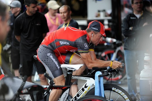 Stock Photo: 1848-547942 Lance Armstrong warming up before the prologue, Tour de France 2010, Rotterdam, Netherlands, Europe