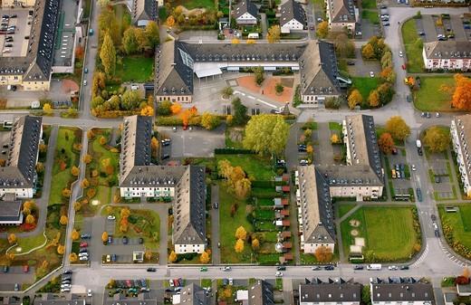 Aerial view, former barracks, Papenbusch, Menden, Maerkischer Kreis county, North Rhine_Westphalia, Germany, Europe : Stock Photo