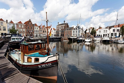 Small romantic harbour and historic houses, Goes, Zeeland province, Netherlands, Benelux, Europe : Stock Photo