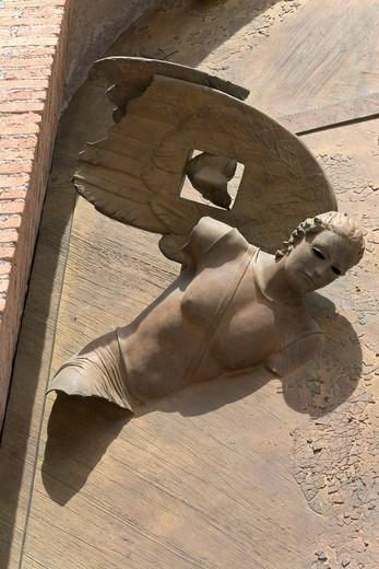 Annunciation, detail of the right bronze door of the church Santa Maria degli Angeli, by Igor Mitoraj, 2006, Piazza della Repubblica, Rome, Latium, Italy, Europe : Stock Photo