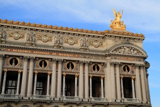 Main facade, Opéra de Paris, Palais Garnier, 9th Arrondissement, Paris, France, Europe : Stock Photo