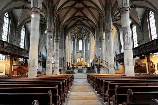Stock Photo: 1848-548398 Interior, Protestant Parish Church of St. Michael, Schwaebisch Hall, Baden_Wuerttemberg, Germany, Europe
