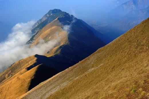 Ridges with fog, Allgaeu Alps, Kleinwalsertal valley, Vorarlberg, Austria, Europe : Stock Photo