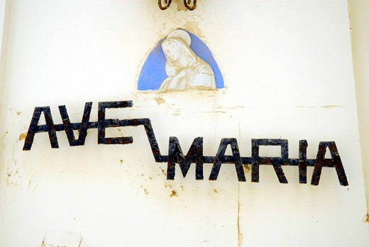 Stock Photo: 1848-548553 Ave Maria lettering, facade displaying a portrait of the Virgin Mary, Victoria, Rabat, Island of Gozo, Malta, Mediterranean, Europe