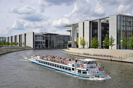 Stock Photo: 1848-548630 Passenger ship with tourists, Paul_Loebe_Haus building, river Spree at Schiffbauerdamm, Regierungsviertel government district, Berlin, Germany, Europe