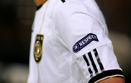 UEFA Respect patch on the German jersey, qualifier for the UEFA European Football Championship 2012, Germany _ Azerbaijan 6:1, RheinEnergieStadion stadium, Cologne, North Rhine_Westphalia, Germany, Europe : Stock Photo