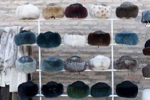 Fur hats for sale, Khiva, Uzbekistan, Central Asia : Stock Photo