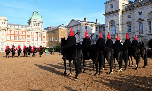 Horse Guards Parade and changing of the guard, London, England, UK, Europe : Stock Photo