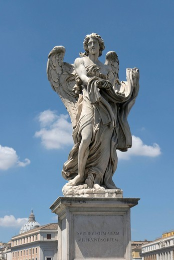 Angelo con la veste e i dadi, angel with the garment and dice, angel statue by Paolo Naldini, Ponte Sant´Angelo, Rome, Latium, Italy, Europe : Stock Photo