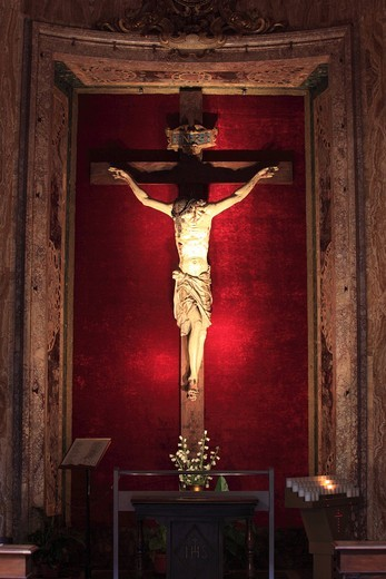 Christ on the Cross, Church of Il Gesu, Rome, Italy, Europe : Stock Photo