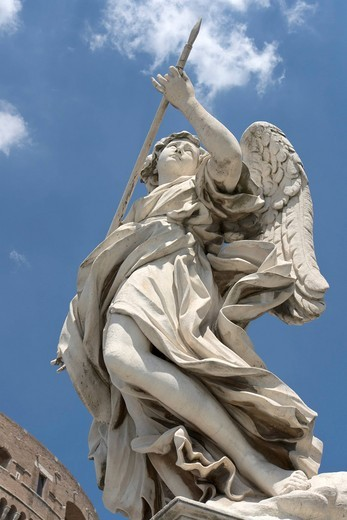 Stock Photo: 1848-549438 Angel with the lance, by Domenico Guidi, one of the ten statues of angels with symbols of the Passion, design by Bernini, Ponte Sant´Angelo, Rome, Latium, Italy, Europe