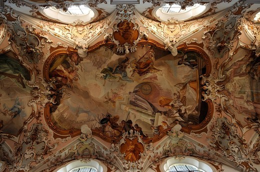 Ceiling frescoes by Matthaeus Guenther in the Parish Church of the Nativity of the Virgin, Rococo style 1737_1746, Rottenbuch Abbey, Rottenbuch, Upper Bavaria, Germany, Europe : Stock Photo