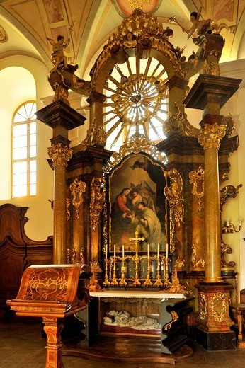 Stock Photo: 1848-549585 Baroque high altar with an altarpiece by Peter Molitor, Chapter House, Strahov Monastery, Prague, Bohemia, Czech Republic, Europe