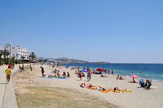 Stock Photo: 1848-549671 Beach promenade, Platja d´en Bossa beach, Eivissa, Ibiza, Pityuses, Balearic Islands, Spain, Europe