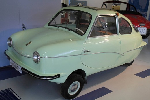 Fuldamobil S7, built in 1961 by Elektromaschinenbau GmbH Fulda, timber chassis with aluminum plate, ErfinderZeiten: Auto_ und Uhrenmuseum, Time of Innovators: Museum of Cars and Clocks, Schramberg, Black Forest, Baden Wuerttemberg, Germany, Europe : Stock Photo