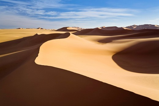 Sand dunes of the Libyan desert, Erg Murzuq, Libya, Sahara, North Africa, Africa : Stock Photo