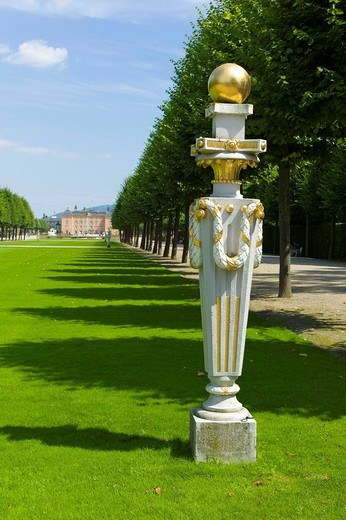 Palace gardens, Schloss Schwetzingen castle, 18th century, Schwetzingen, Baden_Wuerttemberg, Germany, Europe : Stock Photo