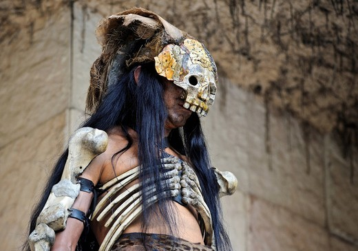 Mayan shaman, ritual, ceremony, Xcaret, Yucatan, Mexico, North America : Stock Photo