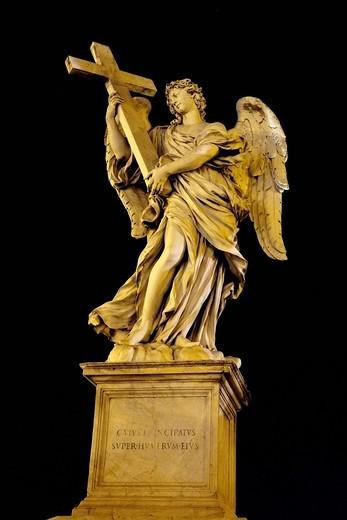 Stock Photo: 1848-550240 Angelo con la croce, angel with the cross, by Ercole Ferrata, one of the ten statues of angels with symbols of the Passion, Statue di angeli con i simboli della Passione, design by Bernini, Ponte Sant´Angelo, Rome, Latium, Italy, Europe