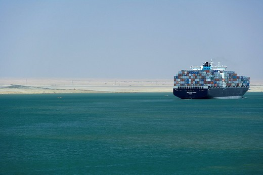 Container ship, Suez Canal, Egypt, Northern Africa, Africa : Stock Photo