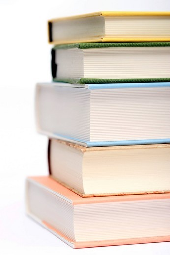 Stock Photo: 1848-550572 Stacked books, reading