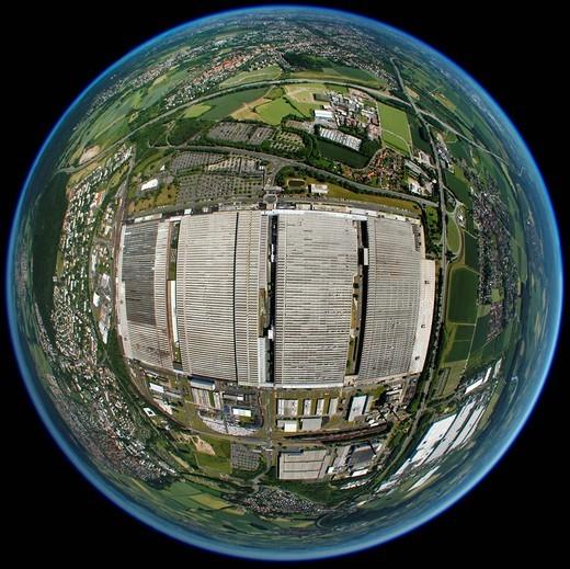 Aerial view, fisheye lens, spherical panorama, Volkswagen factory in Kassel, Hesse, Germany, Europe : Stock Photo