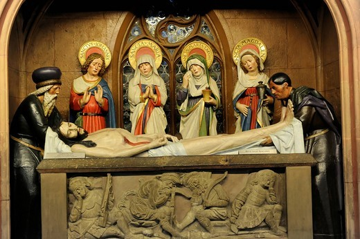 Stock Photo: 1848-550865 Holy figures, Christian representation, side altar, Protestant Parish Church of St. Michael, Schwaebisch Hall, Baden_Wuerttemberg, Germany, Europe