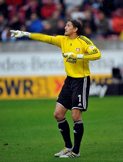 Stock Photo: 1848-551046 German national goalkeeper, Rene Adler of Bayer 04 Leverkusen, organising the defense, Mercedes_Benz Arena, Stuttgart, Baden_Wuerttemberg, Germany, Europe