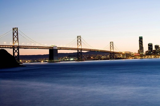 Oakland Bay Bridge at twilight, San Francisco, California, USA, America : Stock Photo