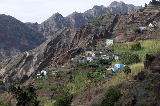 Mountain village, rocks, vegetation, island of San Antao, Cabo Verde, Cape Verde, Africa : Stock Photo