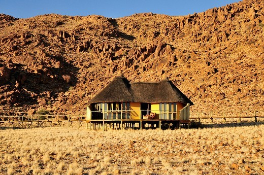 Bungalow of Sossus Dune Lodge near Sesriem, Namib Desert, Namib Naukluft Park, Namibia, Africa : Stock Photo